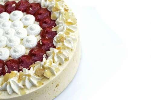 Half of cake on white background