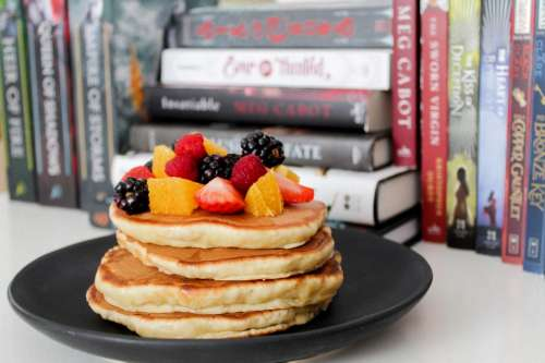 Pancakes with fruit on the top