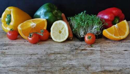 Pepper, oranges, lemon and tomatoes