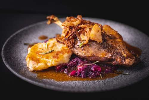 Traditional Czech duck with cabbage