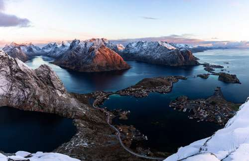 Sunrise View from Reinebringen Mountain on Lofoten Islands