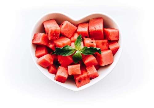 Fresh Watermelon in Heart-Shaped Bowl