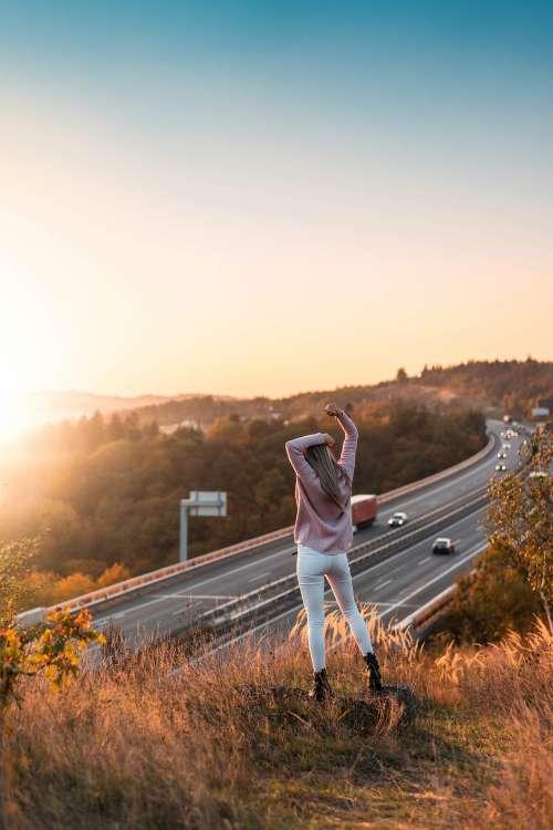 Woman Enjoying Sunset View