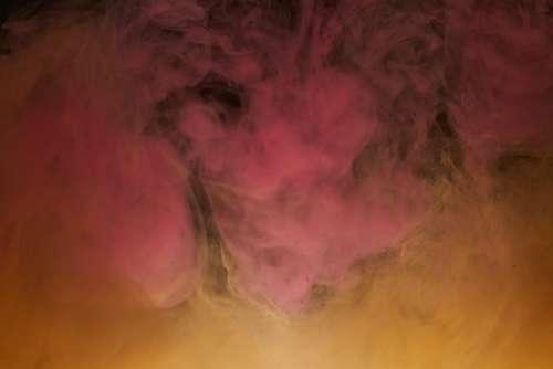 Abstract Ink Orange Pink Smoke Cloud Dark Liquid