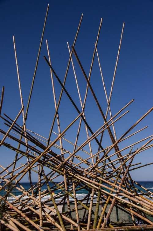 Abstract Sculpture Art Sticks Poles Structure