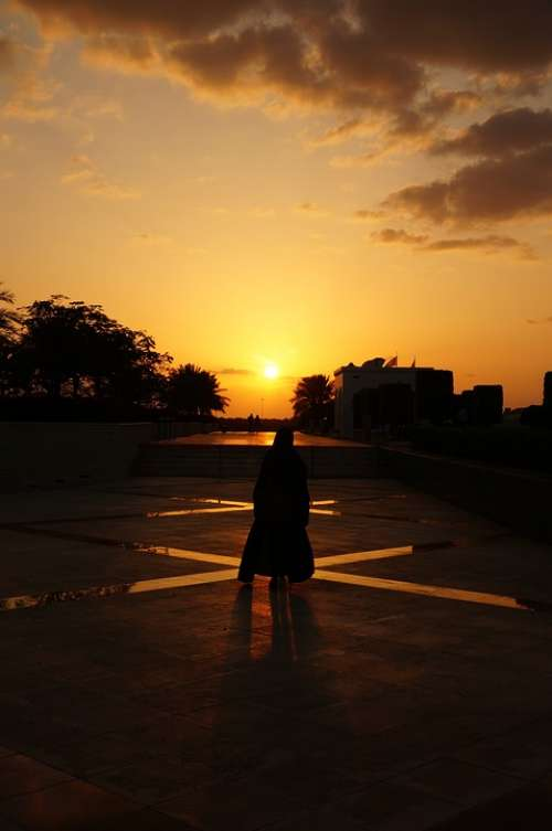 Abu Dhabi Mosque Abaya Sunset Woman Muslim