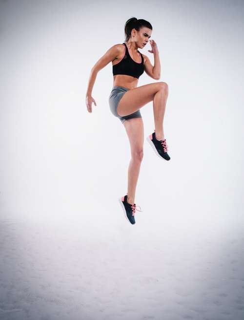 Action Jump Woman Exercise Figure Fitness Model