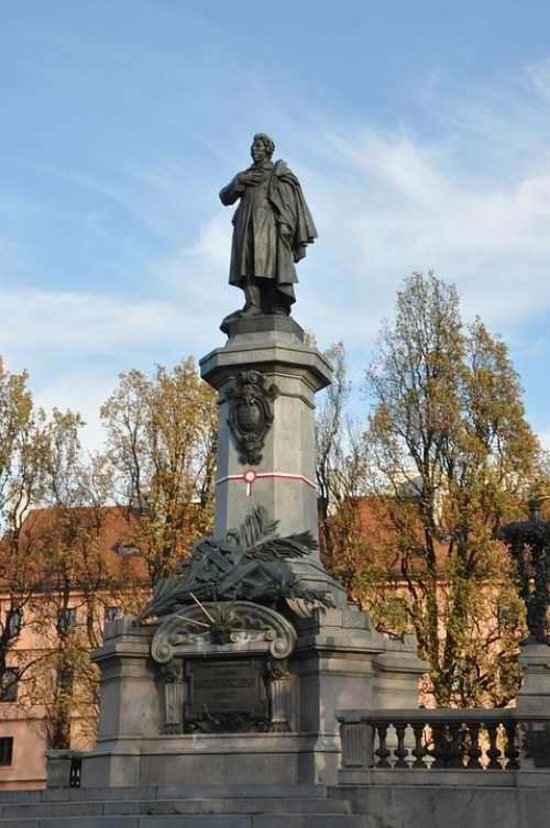 Adam Mickiewicz Warsaw Monument Sculpture Autumn