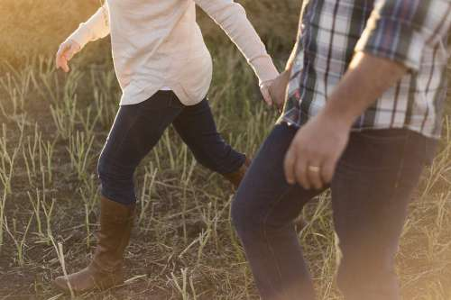 Adult Couple Walking Boots Countryside Girl Grass