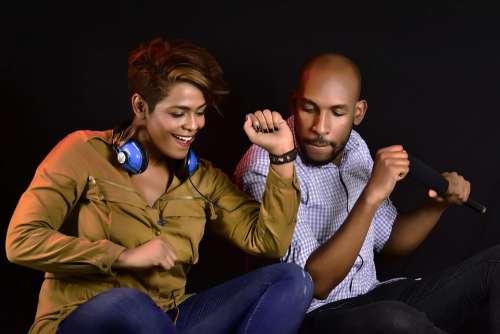 Adult Music Listening Sound Man Woman Couple Fun