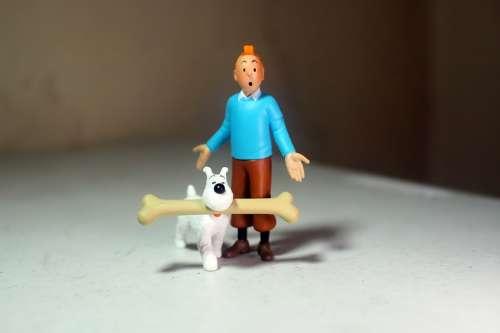 Adult Man Male Dog Bone Snowy Tintin Anime