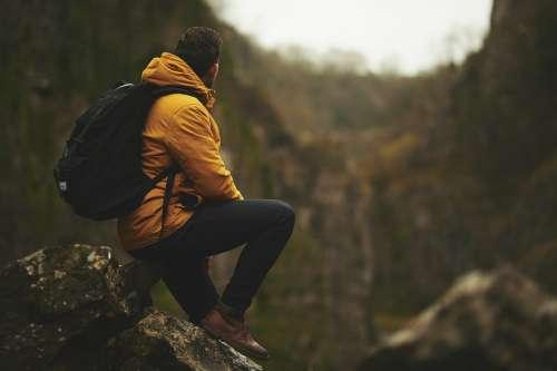 Adventure Man Mountain Outdoors Rocks Sitting