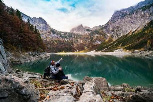 Adventure Mountain Lake Alps Couple Daylight
