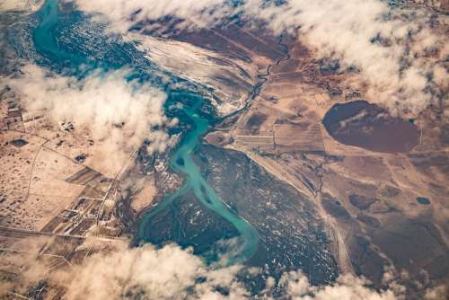 Aerial View River Clouds Landscape Water