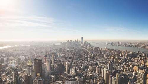 Aerial View New York City Nyc Usa Metropole