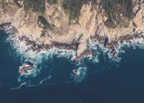 Aerial View Cliff Aerial Sea Water Blue Landscape