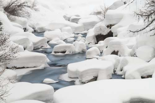 Ahr River Ice Nature Landscape Snow Winter Italy