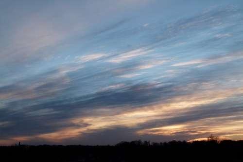 Air Clouds Setting Sun Sunset Evening Sky Heaven