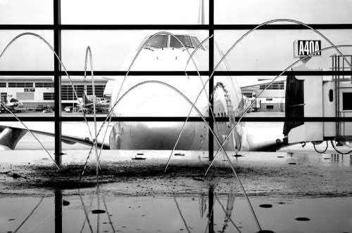 Aircraft Fountain Airport Water Terminal Window