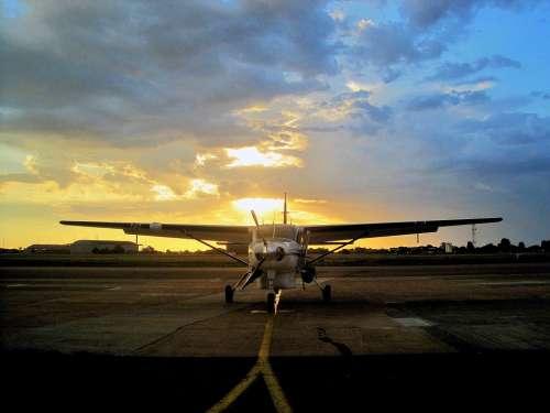 Aircraft Sunset Air Base Tarmac Asphalt Sky