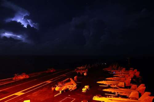 Aircraft Carrier Navy Deck Thunderstorm Military