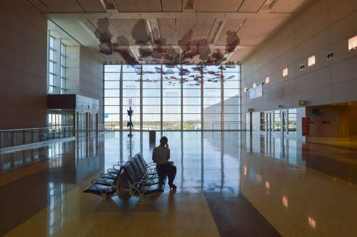 Airport Hall Wait Window Large Art Reflecting