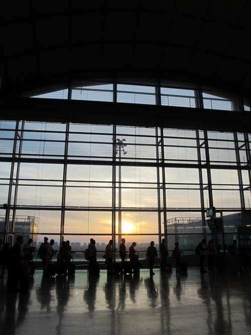 Airport People Travel Sunrise Waiting Silhouettes