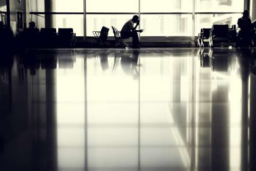 Airport Person Waiting Silhouette Sitting