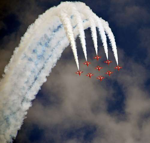 Airshow Fighter Jets Formation Red Arrows Fighter