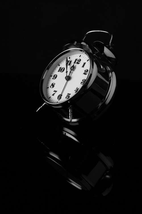 Alarm Clock Black And White Reflection Clock Dial