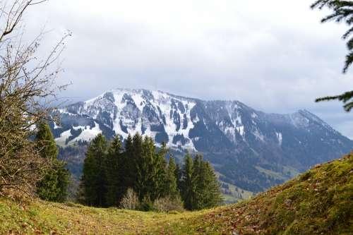 Allgäu Mountains Greened Snow