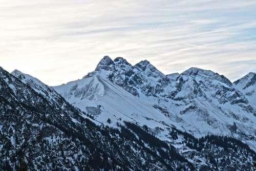 Allgäu Mountains Winter Mädelegabel Trettachspitze