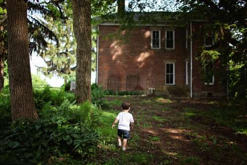 Alone Boy Outdoors House Home Toddler Backyard
