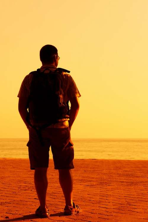 Alone Hiker Standing Evening Male Man Orange
