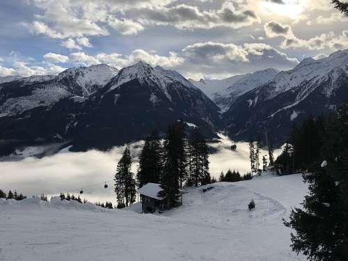 Alpine Clouds Sky Landscape Snow Panorama