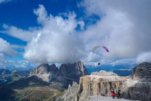 Alpine Dolomites Mountains Sella Paragliding Sky