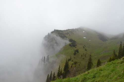 Alpine Fog Mysterious Mountains Clouds Meadow