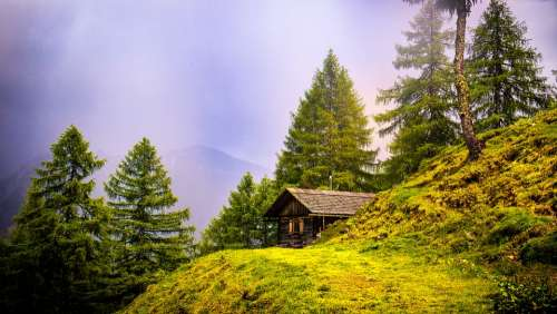 Alpine Hut Hiking Hut Hike Lonely Trees Mood