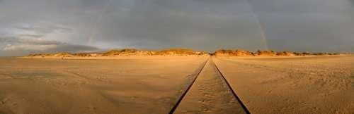 Amrum Beach Rainbow Dunes Nordfriesland Wide Sun