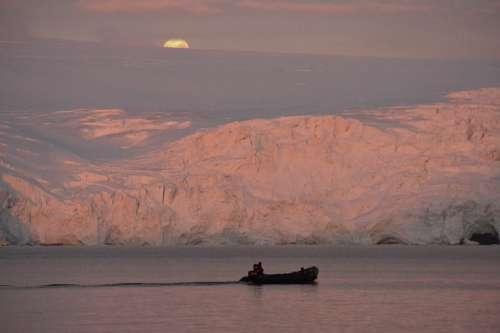 Antarctica Landscape Boat Sunset Moon Pink