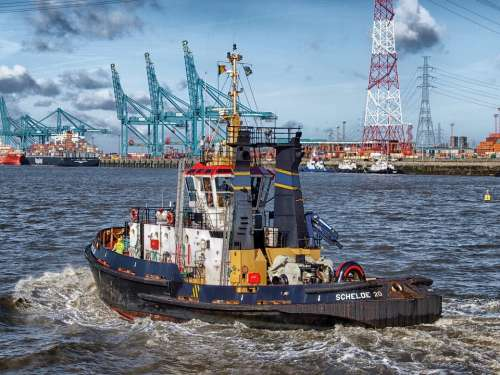 Antwerp Belgium Boat Tugboat Harbor Bay Water