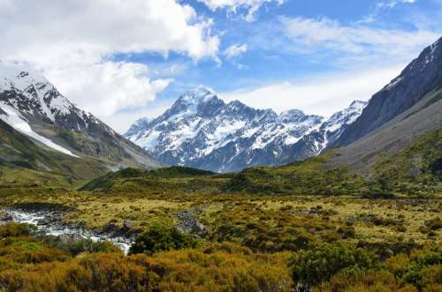Aoraki Mount Cook Mountain New Zealand Alpine