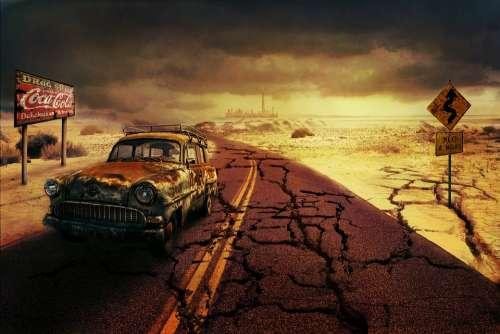 Apocalypse Photoshop Collage Car Design Style