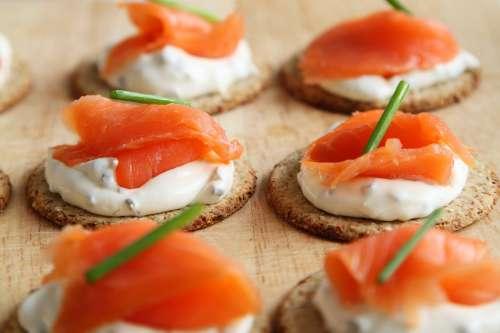 Appetizer Salmon Canape Cheese Cracker Cuisine