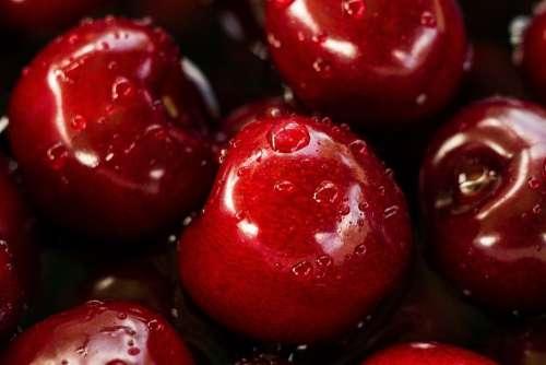 Apples Cherries Red Fresh Wet Fruit Food Produce