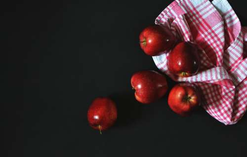 Apples Fruit Fresh Cloth Healthy Organic Red