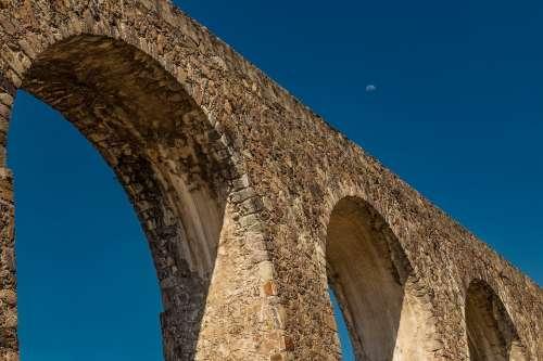Aqueduct Architecture Sun Sky Sunny Landscape Old