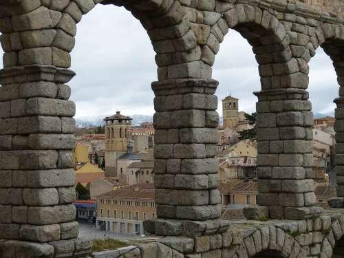 Aqueduct Segovia Spain Historic Center Castile