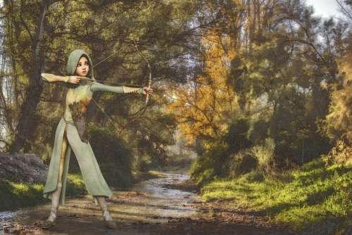 Archer Bow And Arrow Bach Forest Fantasy