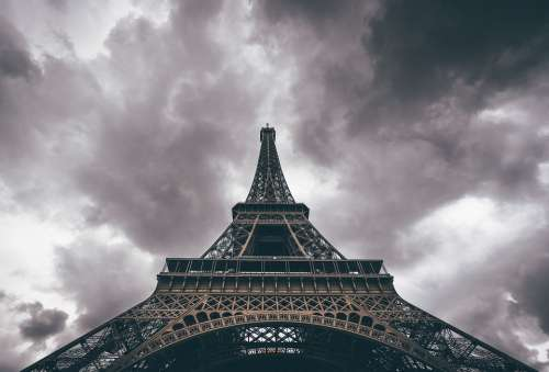 Architecture Eiffel Tower Paris Clouds